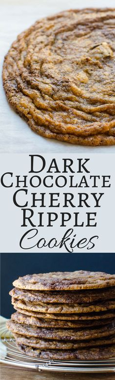 Chocolate Chip Cookie Recipe like you have never had... Made with dark chocolate bars, dried cherries and almonds in ginormous cookie form!
