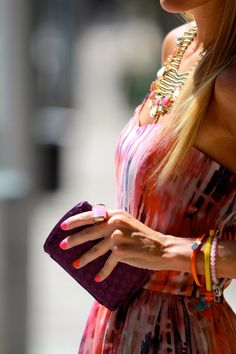 pattern dress | orange purple pink white | purple clutch  | gold collar statement necklace | #torreya 2 / 3