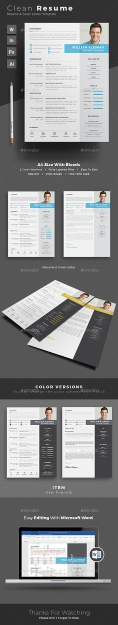 Resume Template PSD, InDesign INDD, AI Illustrator, MS Word