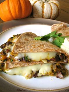 Pumpkin, Black Bean, & Jalapeno Quesadillas w/ Pumpkin Chipotle Crema