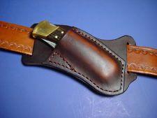 Custom leather Right Cross draw pocket knife sheath far a buck 110 are 112