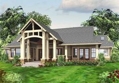 <ul><li>Step inside this luxury Craftsman house plan and you'll be blown away by the front-to-back views. Exposed timbers add a sense of drama to the vaulted ceilings.</li><li>The vaulted great room features a fireplace and built-ins. The rear Nanawall can be folded open bringing an even greater sense of space connecting you to the outdoor living room.</li><li>The kitchen features a large island with seating plus a breakfast bar. The nook is l...