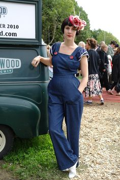 Ladylike dungarees with cherry red accents #pretty