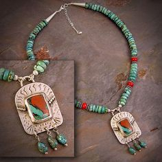 Sonoran Sunset necklace w/Turquoise beads by LaJeanneDesign, $154.00