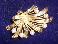 Vintage Signed LISNER PIN BROOCH Gold Tone w Pearls | eBay