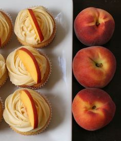 Recipe: Peach Cupcakes with Peach Cream Cheese Frosting Ingredients Cupcakes: 1 cup (2 sticks) unsalted butter, softened 2 cups all-purpose flour 2 ½ teaspoons baking powder 1/2 teaspoon salt 2 cup...
