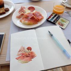 Breakfast... #watercolor #sketch #sketching #art #artist #love #eat #breakfast #melon #favorite #dish