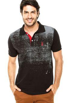 Camisa Polo SNK Estampada Preta - Marca STN