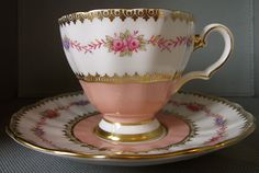 GROSVENOR cup  saucer roses #B48 bone china for Hudson's Bay Co.