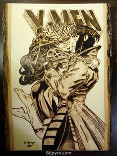 #Gambit #Fan #Art. (X-MEN: Rogue and Gambit comic - wood burning) By: Brandojones.
