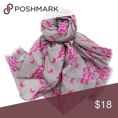"""Last chance!! Gorjana Canary Scarf In excellent condition - used three times! Gorjana Canary Scarf - 100% Cotton, 30""""x70"""", deep grey background with magenta birds in flight. Gorjana Accessories Scarves & Wraps"""