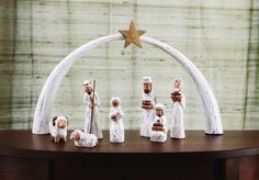 Albizia wood is carved, whitewashed, and hand painted to create 7 modern nativity figures Christmas Mood, Christmas Nativity, Xmas, Willow Tree Nativity, Christmas Decorations, Holiday Decor, Holiday Ideas, Celebration Quotes, Holy Night