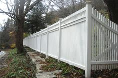 White Semi-Privacy Wood Fence with Picket Top