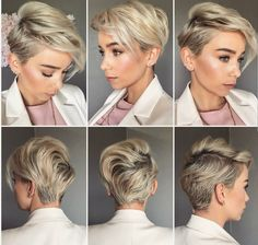 Blonde pixie must do make up & hair hair cuts, hair styles и Short Pixie Haircuts, Pixie Hairstyles, Cute Hairstyles, Short Hair Cuts, Blonde Pixie Haircut, Hairstyle Ideas, Poxie Haircut, Pixie Haircut For Round Faces, Long Pixie Cuts