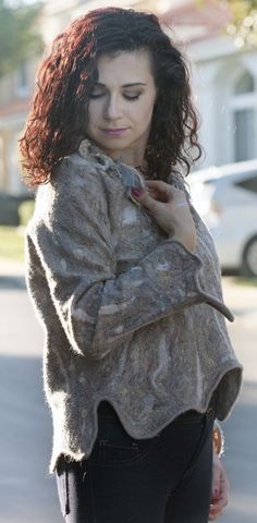 Unique felted beige gray long sleeves merino wool by GBDesign