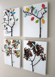 Twig Tree Canvas 4 Seasons. We like the idea of a home decor that is not only homemade, but made with things we find in our own backyard! Fun project for kids from http://homeandgarden.craftgossip.com/