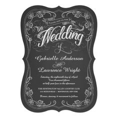 Ornate Chalkboard Bistro Art Wedding Invitations