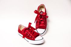 Youth - Tiny Sequins - Starlight Red Canvas Low Tops Sneakers Shoes with Satin  Ribbon Laces 59688b7aa