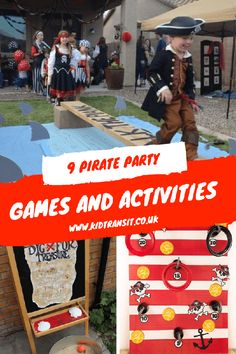 Pirate theme party games and activities for a pirate children's birthday party Pirate Games For Kids, Pirate Party Games, Pirate Activities, Graduation Party Games, Pirate Theme, 18th Birthday Party Themes, Birthday Party Games For Kids, First Birthday Parties, Pirate Birthday Cake