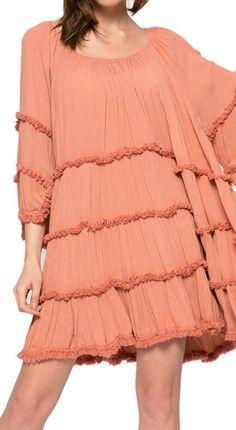 flare sleeve fringe dress