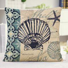 Mediterranean Style Ocean Floral Scallop Pattern Pillow Case