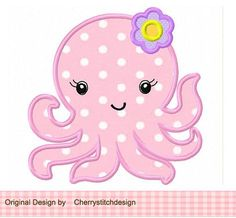Baby Octopus Digital Applique -4x4 5x7 6x10-Machine Embroidery Applique Design, $2.99