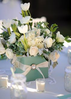 mint centerpiece flowers ribbon tulips roses hydrangea