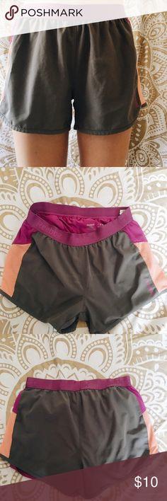 reebok athletic shorts grey color, purple spandex underneath, mesh sides Reebok Shorts