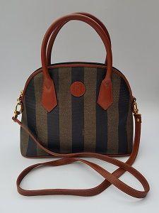 11f60cb11f91 FENDI Vintage Black and Brown and Tan Pequin Striped Crossbody  Shoulder  Alma Style Bag. Italian designer purse.