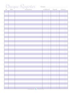 Cheque Register - Purple