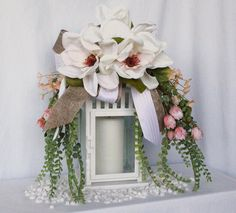 Magnolia spring swag, mossy fern branches, off-white magnolias, pink floral buds, small coral flowers, burlap and pink-white stripe bow by BarnaclesAndBurlap on Etsy
