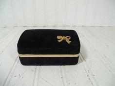 Retro Deep Dark Black Velvet Jewelry Presentation Case with Mirror - Vintage Compact Jewelry Travel Box - Gold Tone Metal Bow Trim Organizer $19.00