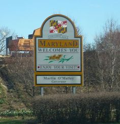 Maryland state welcome sign, along Interstate 81, entering from West Virginia.