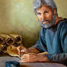 Un hombre de la antigüedad escribiendo una parte de la Biblia