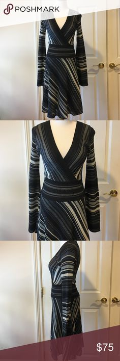 """M Missoni Black/Silver/Gray/White Dress Sz 38/2 M Missoni Black/Silver/Gray/White Dress Sz 38/2, 🔸fits a 2/4🔸skirt is lined, mix of wool/viscose/polyamide, worn a handful of times, just had it dry cleaned, still in very good conditions, checked it over and don't see any snags or runs, bought this at either Saks or Bloomie's several years ago, retail $695, top of shoulder measured straight down 39"""", armpit to armpit about 14"""" 🚫No Trades🚫 M Missoni Dresses"""