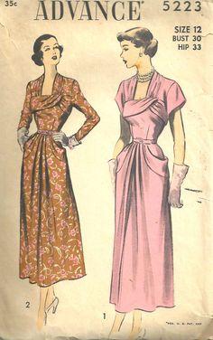 UNCUT  Advance Pattern 5223 Dress Vintage size 12 by SewReallyCute, $35.00