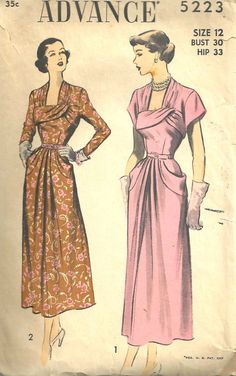 UNCUT  Advance Pattern 5223 Dress Vintage size 12 by SewReallyCute, $35.00