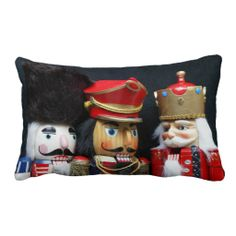 Three nutcrackers on black lumbar pillow #nutcrackers, #NutcrackersPillow, #ChristmasPillow, #CoolLumbarPillow