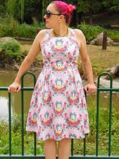 'She's A Carnival' dress using Tula Pink 16th Century Selfie print in Tart