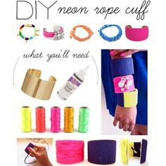 Neon Rope Cuff Bracelets | 46 Ideas For DIY Jewelry You'll Actually Want ToWear