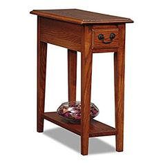 Country Style Narrow Nightstand Rectangle Wooden Medium Oak Chair Side Table  With Storage Drawer   Includes