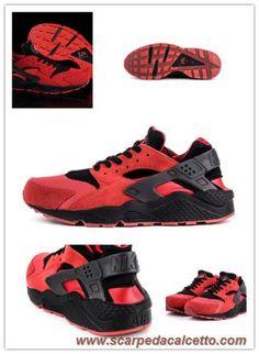 Uomo Nike Air Huarache UK Rosso Nero Rosso/Nero 318429-004