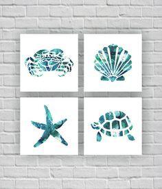 Sea Turtle Crab Starfish Sea shell silhouette watercolor Printable Wall Art Set of bathroom Beach Room, Beach Wall Art, Bathroom Art, Bathroom Ideas, Small Bathroom, Sea Bathroom Decor, Beach Bathrooms, Boho Bathroom, Dream Bathrooms