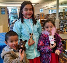 Winter animal puppets at Gresham Library.