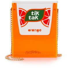 Urania Gazelli Tik Tak Bag ($695) ❤ liked on Polyvore featuring bags, handbags, chain handle handbags, orange bag, magnetic purse, lucite purse and orange purse