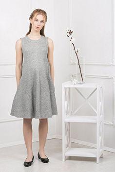 214e84b7eead Abito prémaman - Annetta vestito maternità casual A - line senza maniche -  Nothing But Love - Grigio chiaro - 38