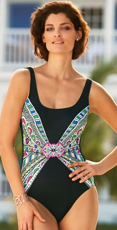21d1ad9008d  Charmline 2015 Artful Brooch  Swimsuit  southbeachswimsuits Maternity One  Piece Swimsuit