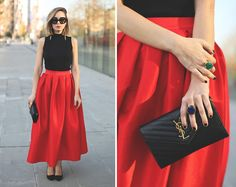 My Showroom Priscila - Tous Ring, Saint Laurent Clutch, Chic Wish Skirt - Red Tulip Skirt Christmas Fashion Outfits, Christmas Party Outfits, Fall Fashion, Full Skirts, Red Skirts, Tulip Skirt, Midi Skirt, New Years Eve Outfits, Pleated Maxi