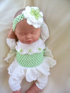 Green and White Crochet Tutu Dress and Headband set