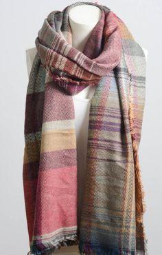 Beautiful Pink Mix Plaid Winter Long Fringe Scarf 3b5425a5103